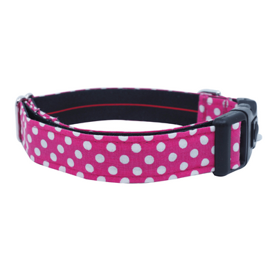 Dog Bow Tie and Collar Set : Fuchsia Polka