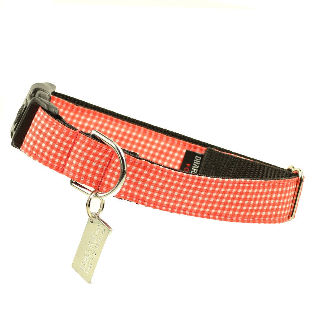 Dog Bow Tie and  Collar Set : Orange Gingham - Dharf - 3