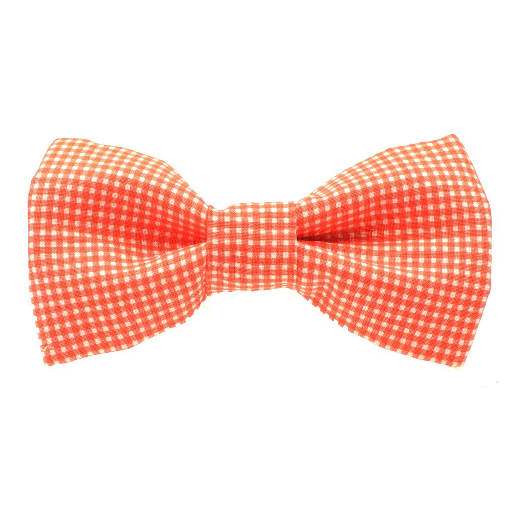 Dog Bow Tie and  Collar Set : Orange Gingham - Dharf - 2