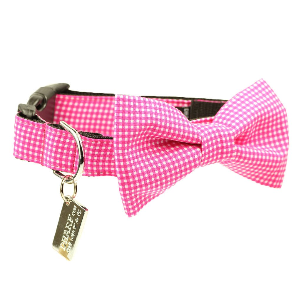 Dog Bow Tie and Collar Set :  Pink Gingham - Dharf - 1