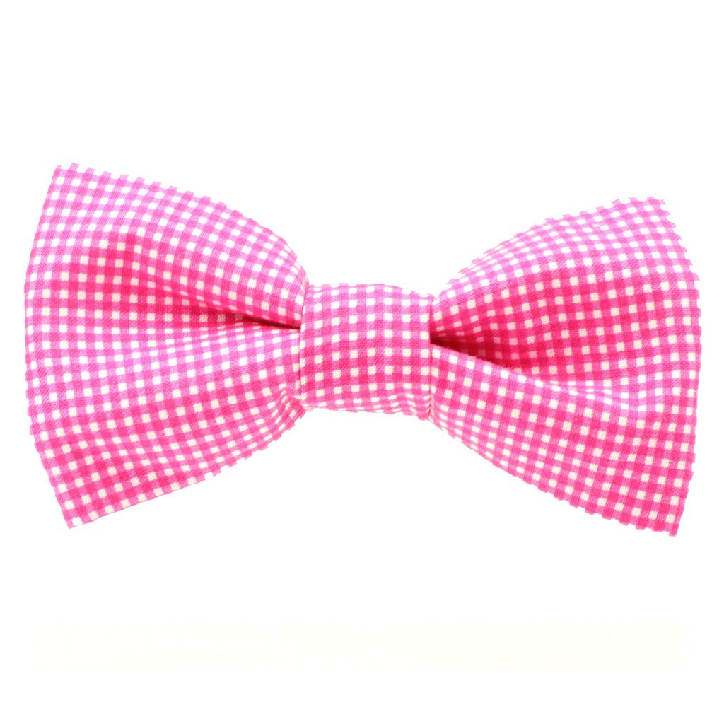 Dog Bow Tie and Collar Set :  Pink Gingham - Dharf - 3