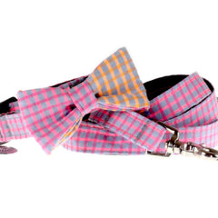 Dog Collar, Bow tie and Leash Set : Pink Jean