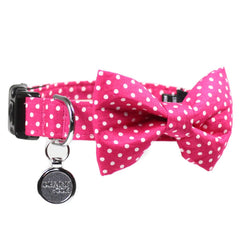 Dog Bow Tie and  Collar Set :  Pink Polka