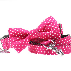 Dog Collar, Bow tie and Leash Set : Pink Polka Dot