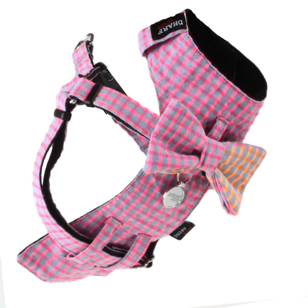 Dog Bow-tie Harness & Leash : Pink Jeans
