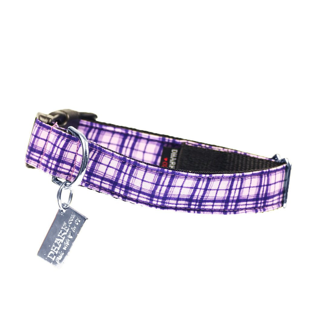 Dog Bow Tie and  Collar Set : Purple Criss-Cross - Dharf - 3