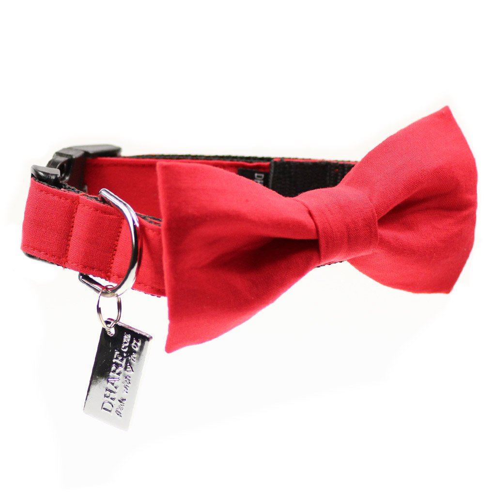 Dog Bow Tie and Collar Set :  Merry Red - Dharf - 1