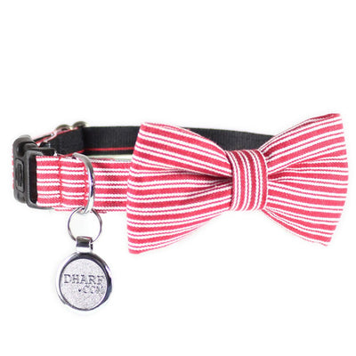 Dog collar and matching removable bow tie in red pin stripes