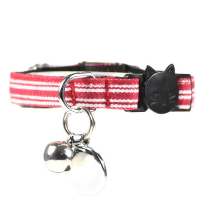 Dharf cat collar with breakaway clasp in red pinstripes