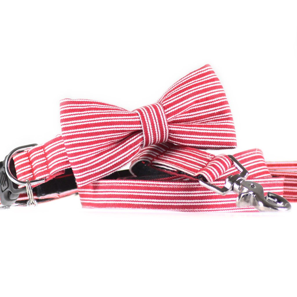 Dog bow tie collar and leash set in red pinstripe