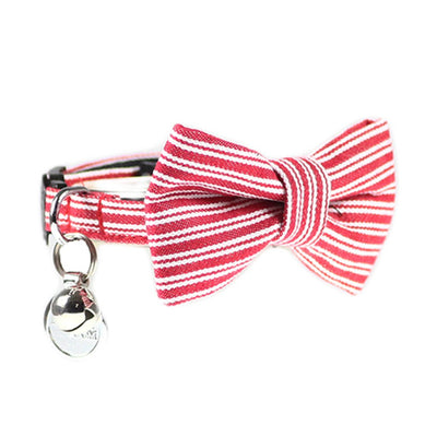 Dharf red pin stripe cat bow tie collar