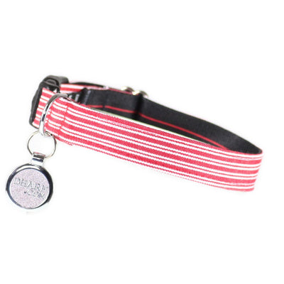 Dharf adjustable dog collar in red pin stripes