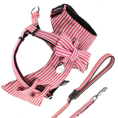 Dog Bow-tie Harness & Leash : Red Pin Stripe