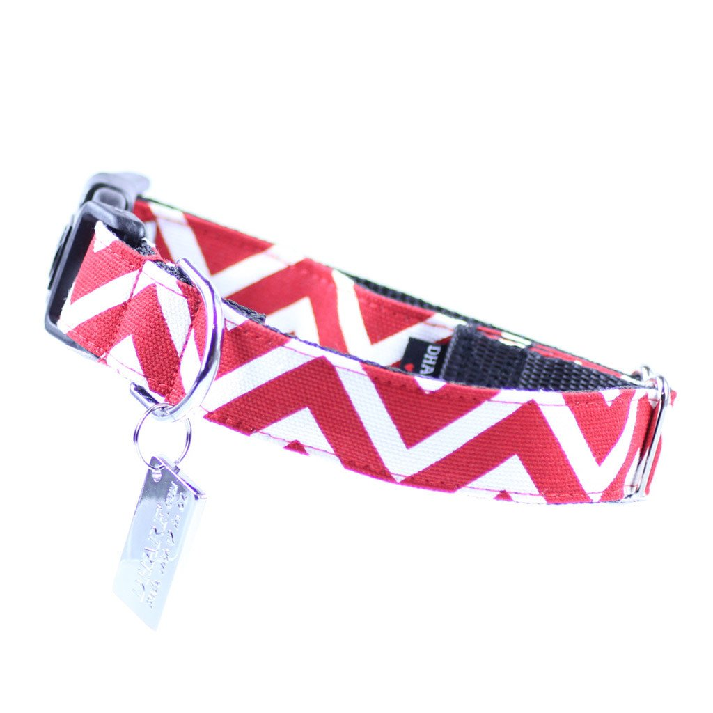 Dog Bandana and Collar : Red Chevron - Dharf - 3