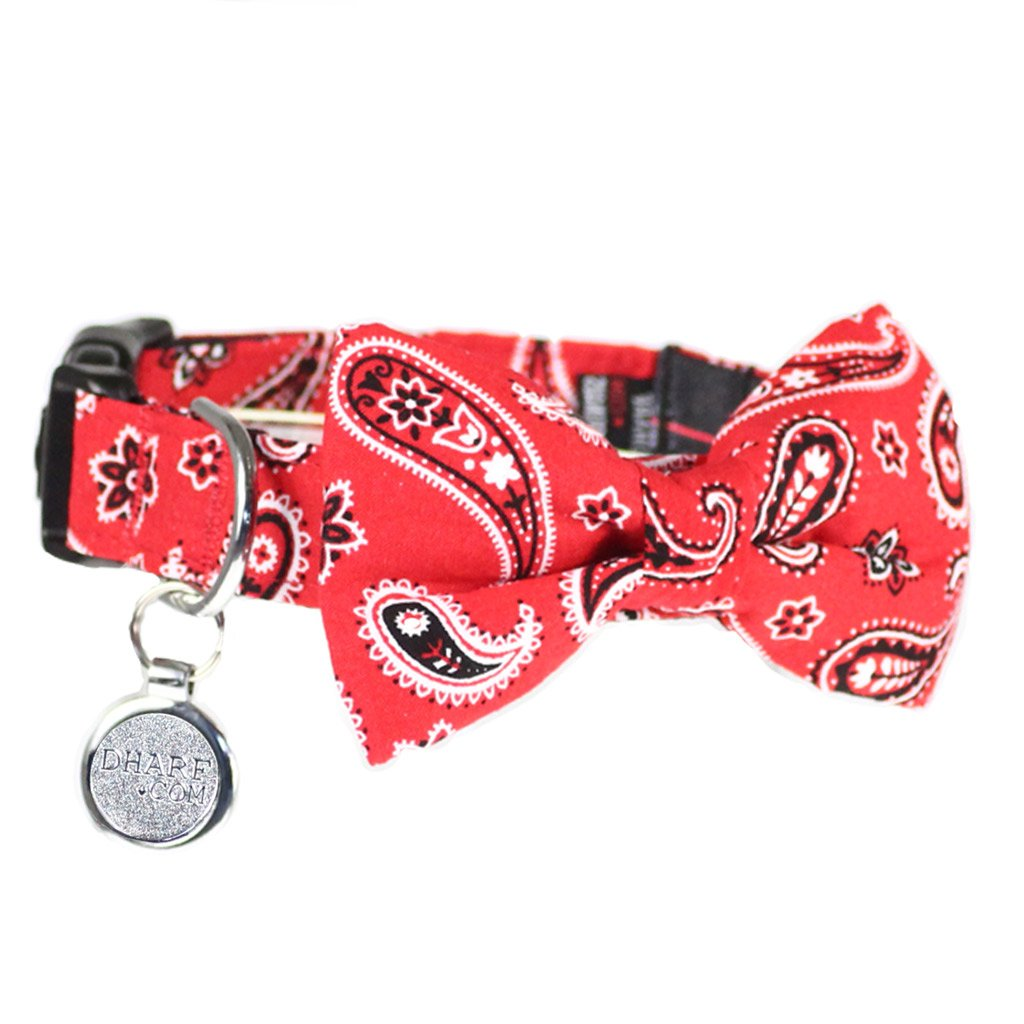 Dog Collar, Bow tie and Leash Set : Red Paisley
