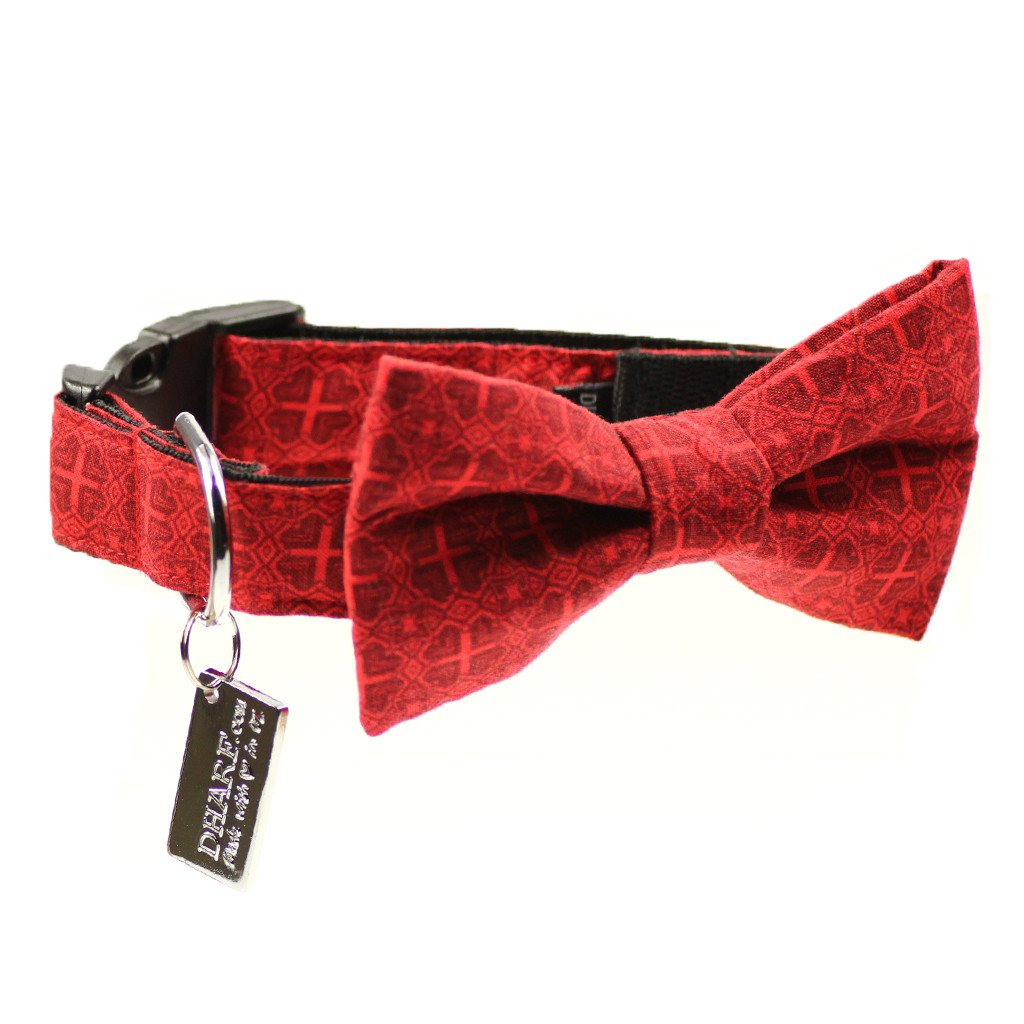 Dog Bow Tie and  Collar Set : Vintage Red - Dharf - 1