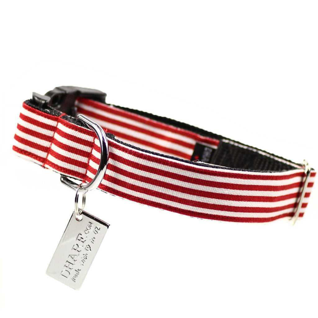Dog Bow Tie and  Collar Set : Red and White Stripe Didgeridoo - Dharf - 4