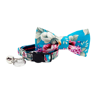 NEW Cat Collar and Bow Tie: Summer Blossom In Turquoise