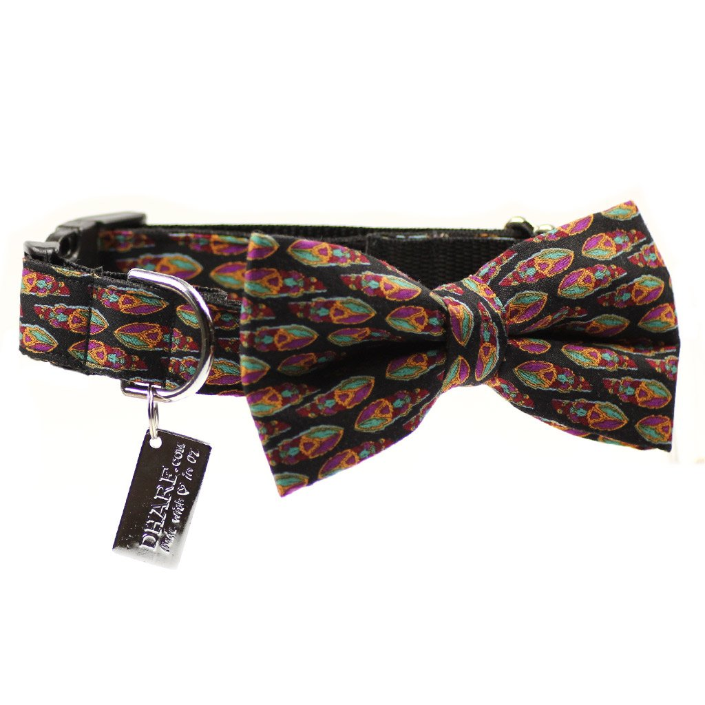 Dog Bow Tie and  Collar Set : Feather Black - Dharf - 1