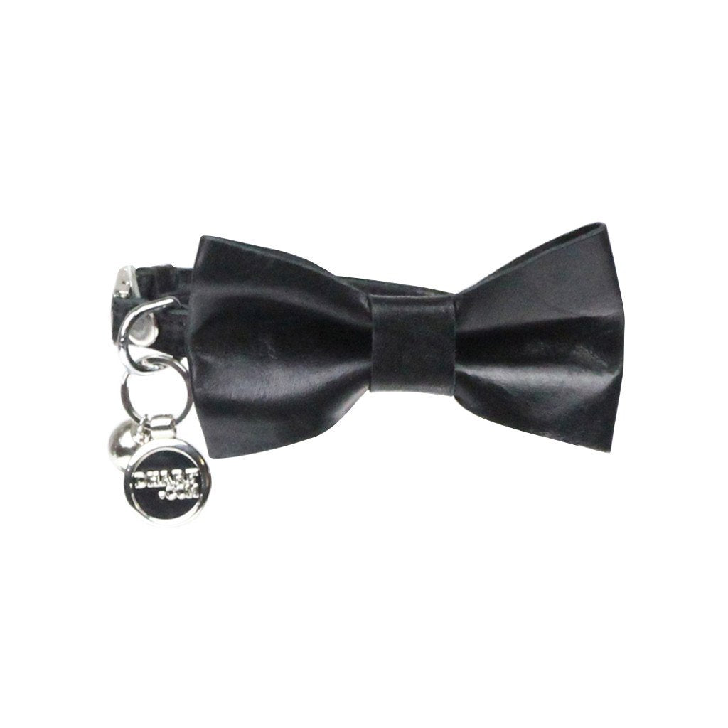 Leather Cat Bow Tie and Collar Set: Black