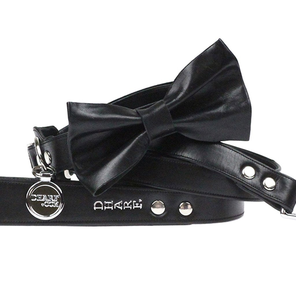 Leather Dog Collar, Bow tie and Leash Set: Black - Dharf - 1
