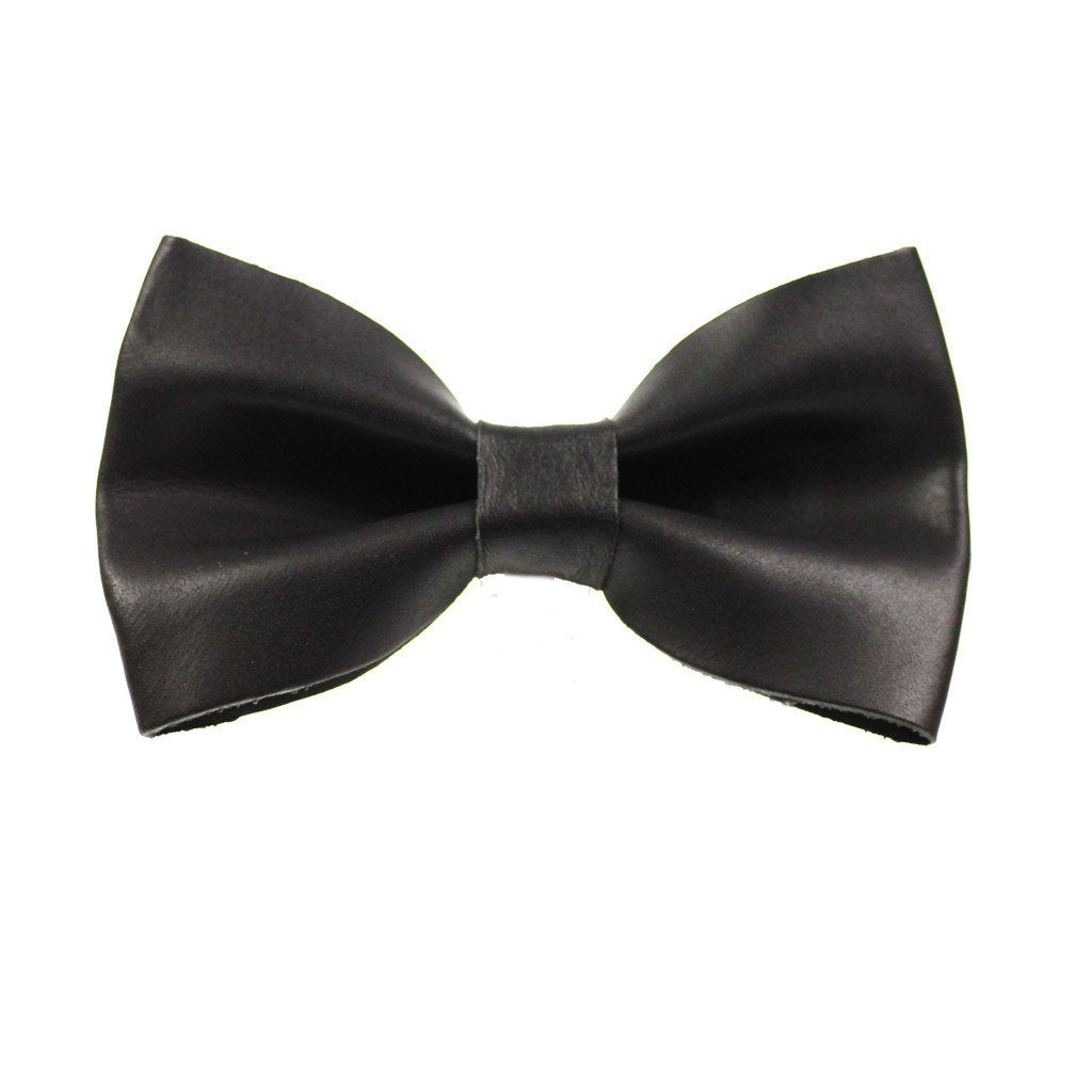 Leather Dog Bow Tie: Black - Dharf