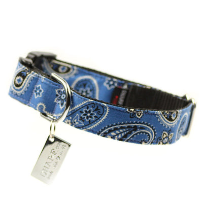 Dharf Dog Collar with adjustable length and lockable buckle in blue paisley print