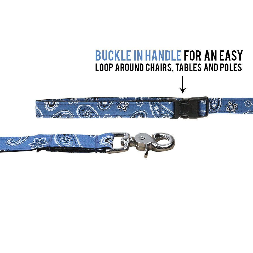 Dharf Dog Leash in Blue Paisley with adjustable length