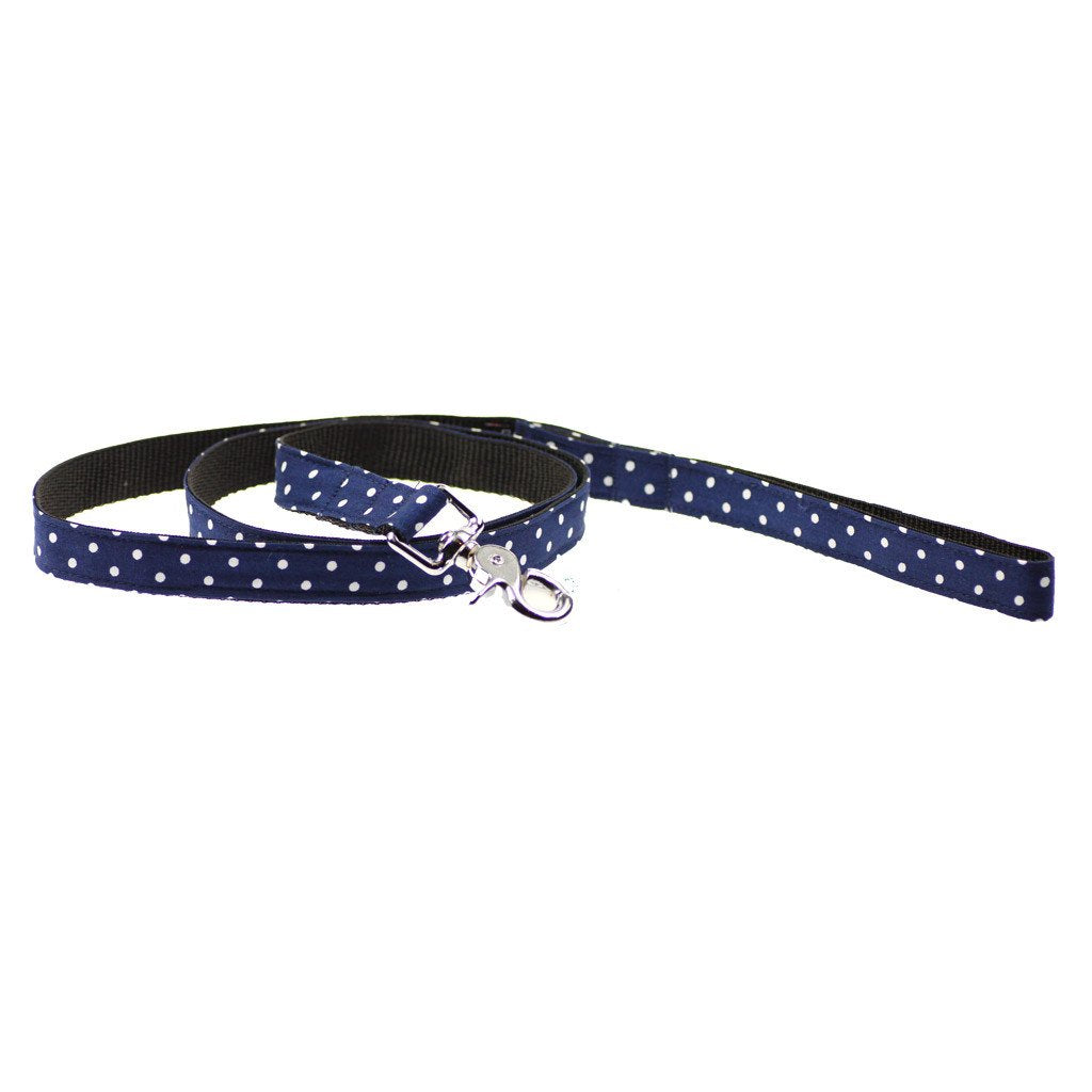 Dog Bow-tie Harness & Leash :  Blue Polka - Dharf - 5