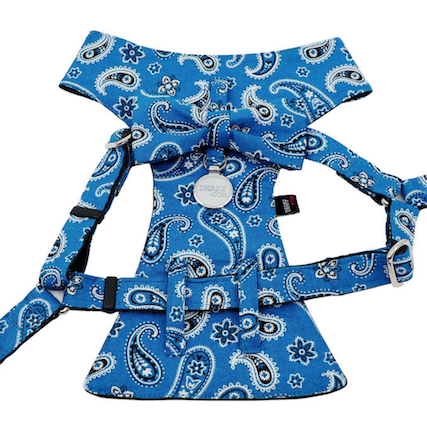 Dog Bow Tie Harness - Blue Paisley
