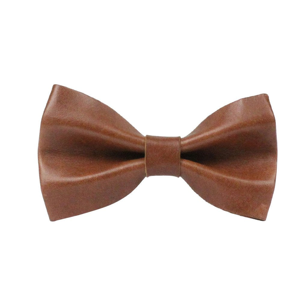 Leather Dog Bow Tie: Whisky Brown - Dharf