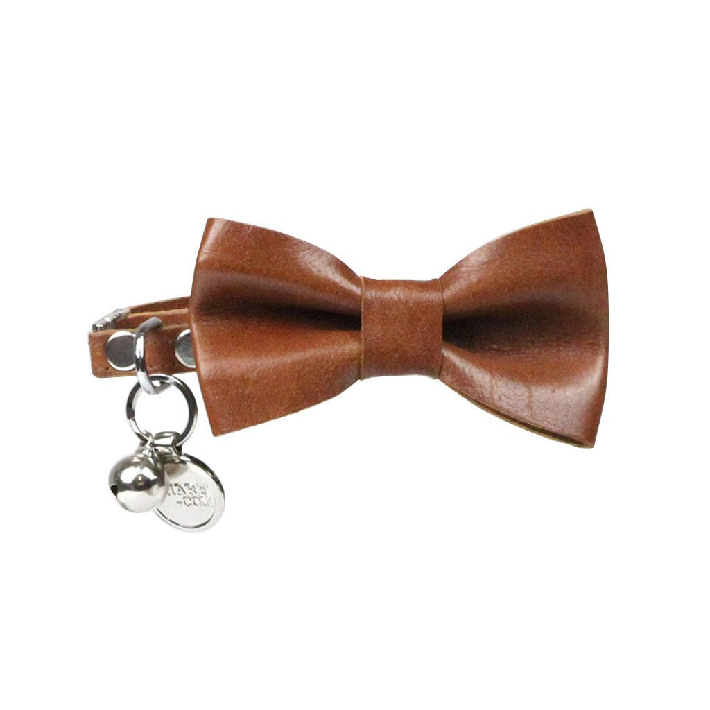 Leather Cat Bow Tie and Collar Set: Whisky Brown - Dharf - 1