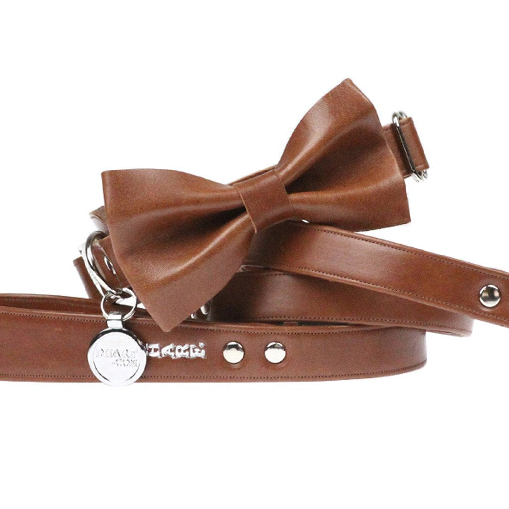 Leather Dog Collar, Bow tie and Leash Set: Whisky Brown - Dharf - 1