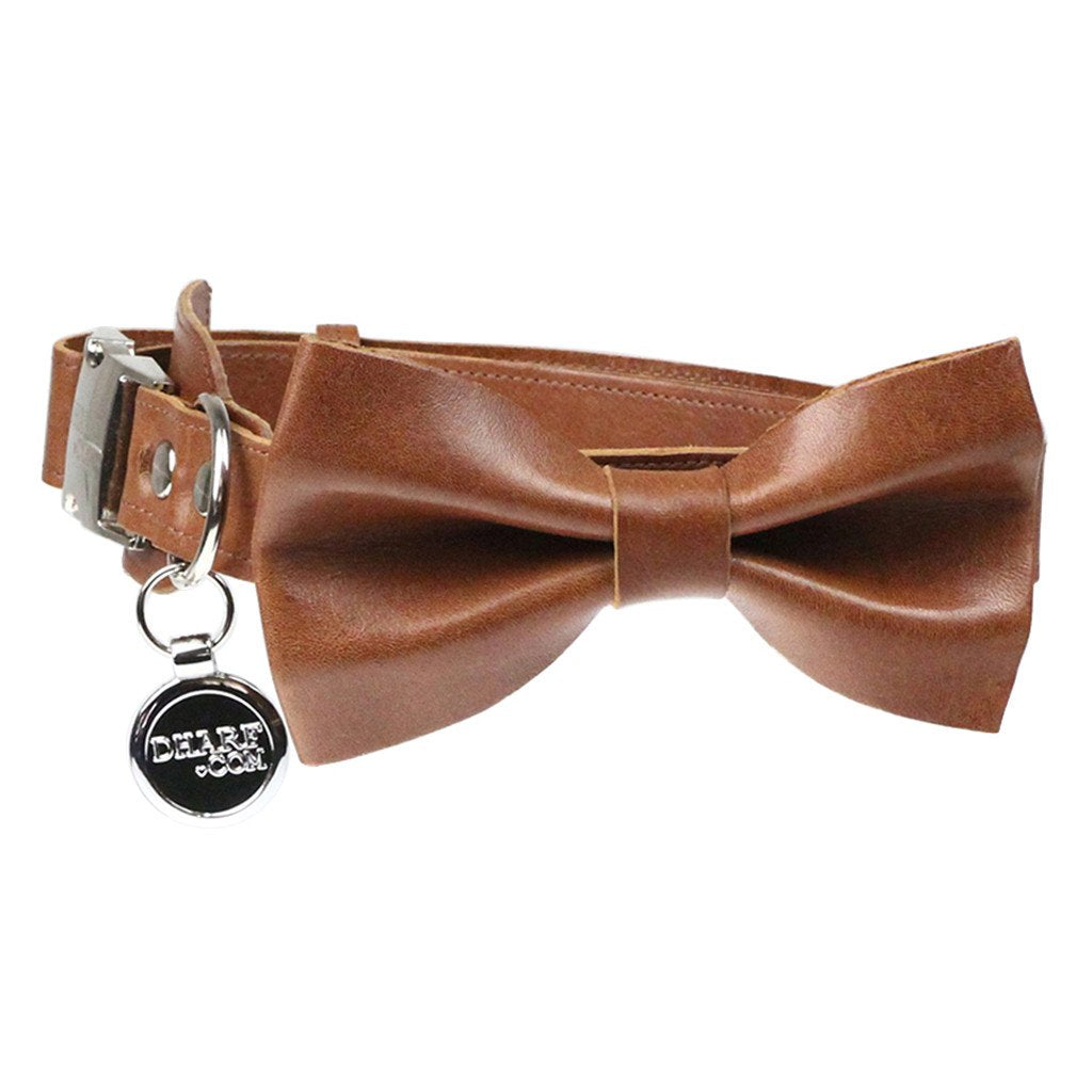 Leather Dog Collar, Bow tie and Leash Set: Whisky Brown - Dharf - 4
