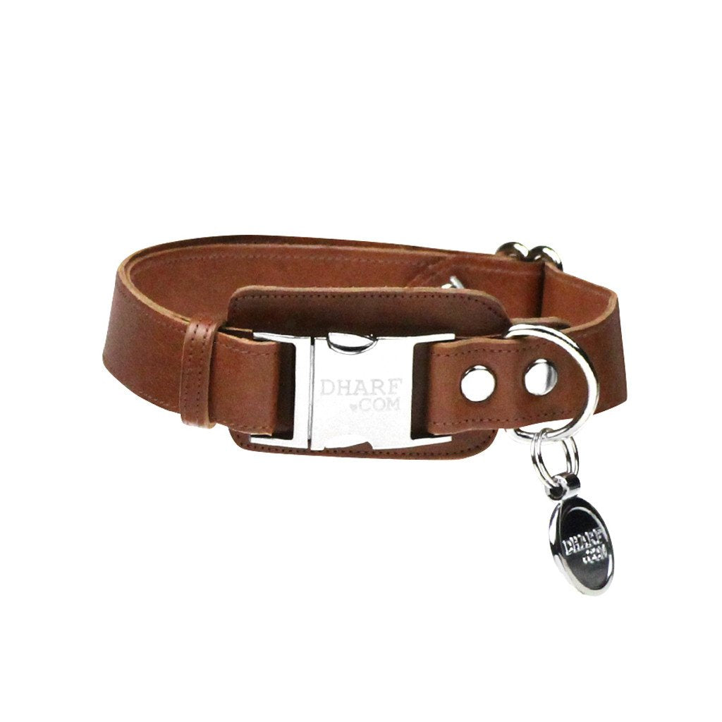 Leather Dog Collar, Bow tie and Leash Set: Whisky Brown - Dharf - 5