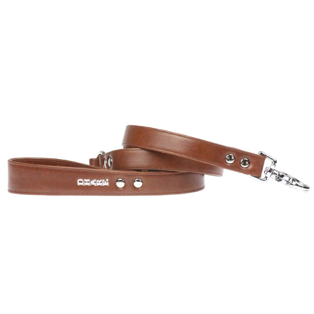 Leather Dog Leash: Whisky Brown - Dharf - 1