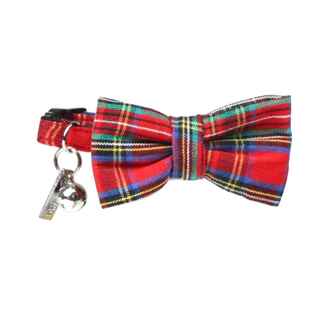 Cat Collar and Bow Tie : Red Tartan - Dharf - 1
