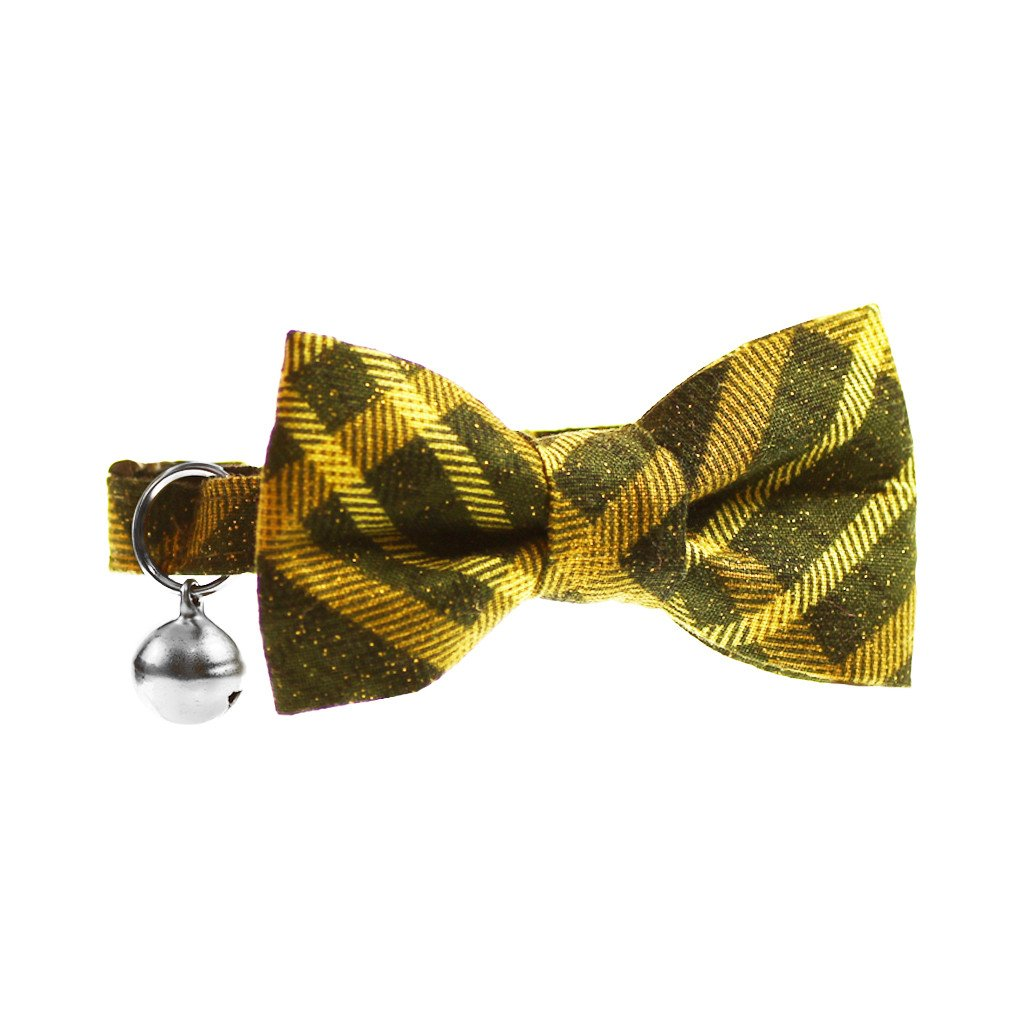 Cat Collar and Bow Tie :  Green & Gold Tartan - Dharf