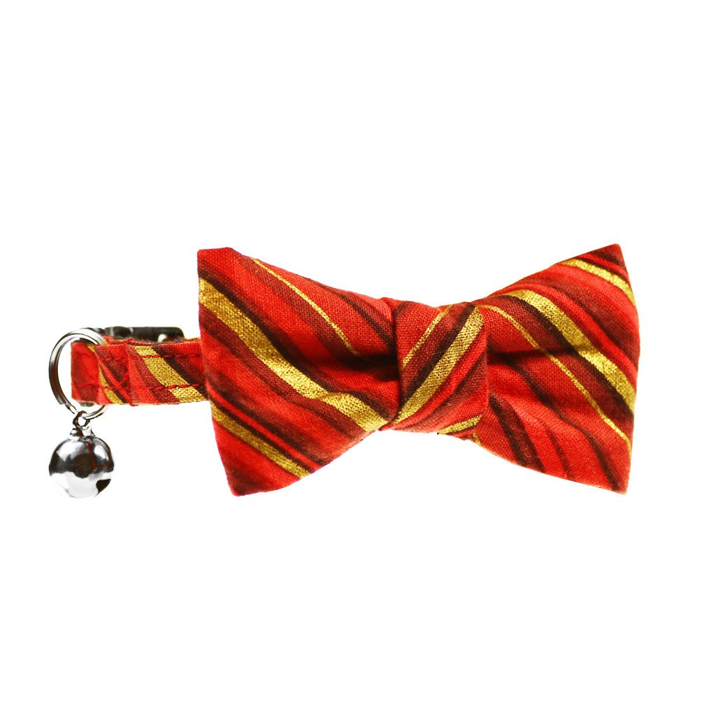 Cat Collar and Bow Tie :  Red and Gold Stripe - Dharf