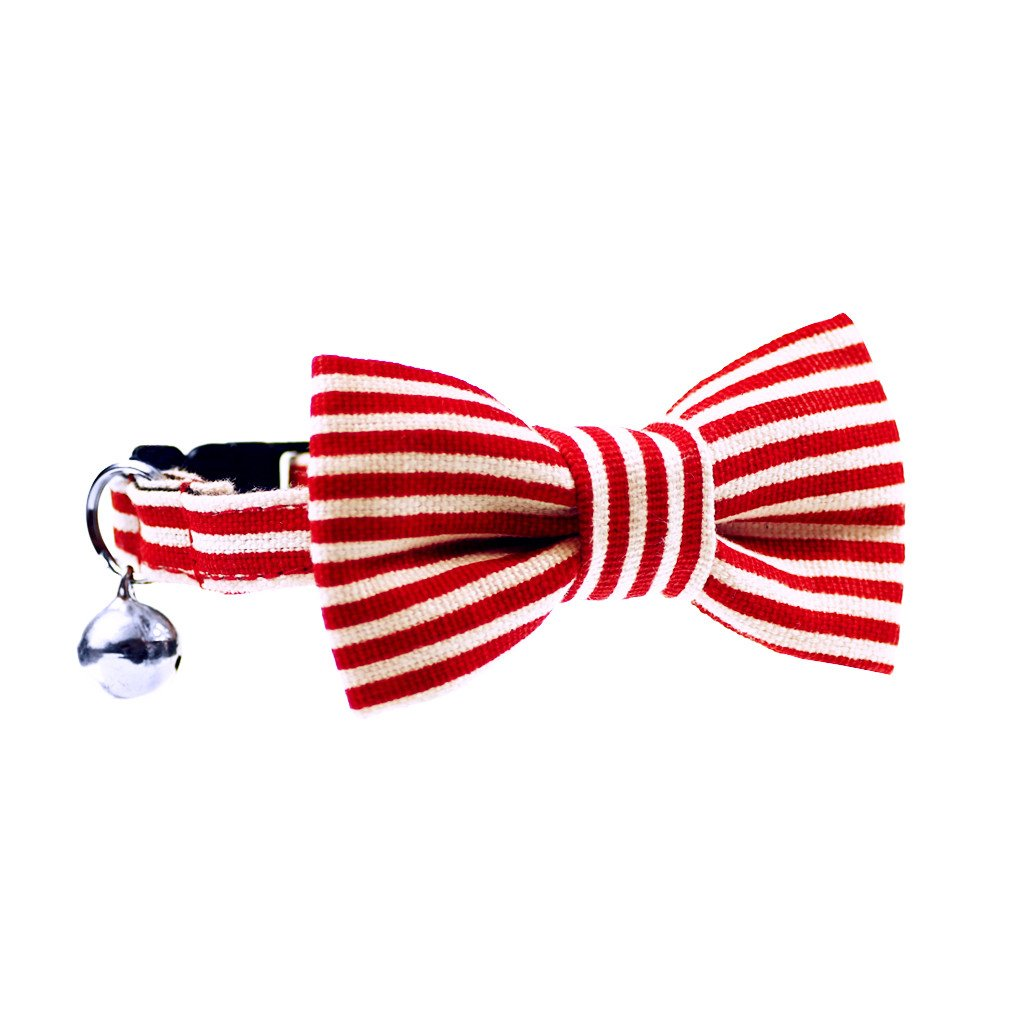 Cat Collar and Bow Tie :  Red and White Stripe - Dharf - 1