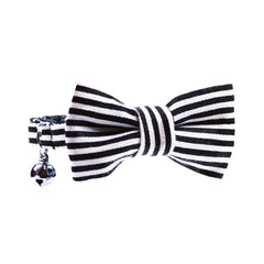 Cat Collar and Bow Tie:  Black and White Stripe