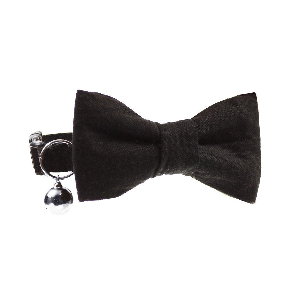 Dharf cat bow tie and matching collar in classic black