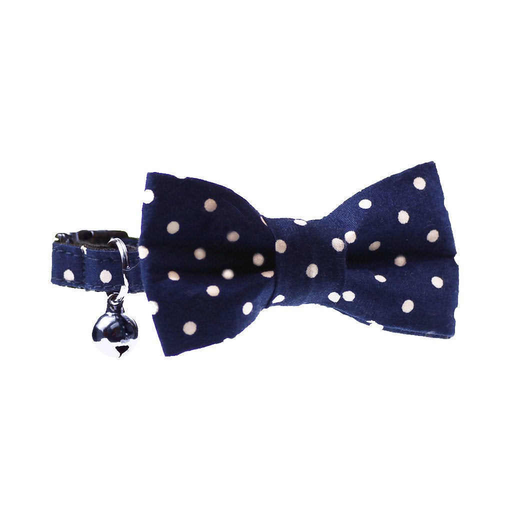 Dharf luxury cat bow tie and matching collar in navy polka