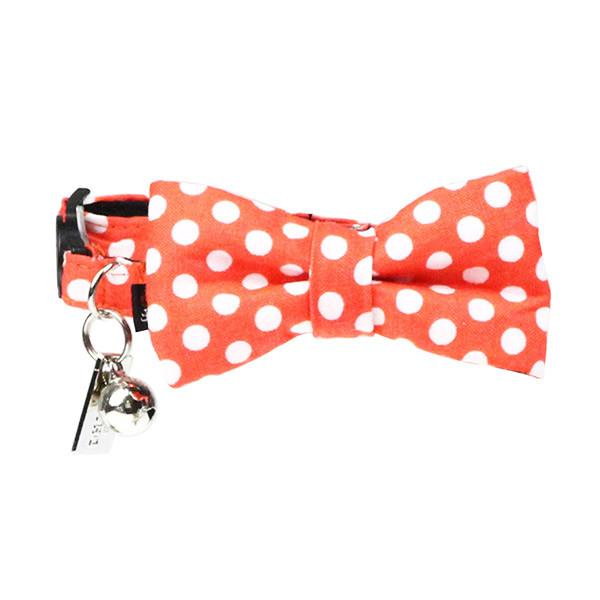 Cat Collar and Bow Tie : Orange Polka - Dharf - 1