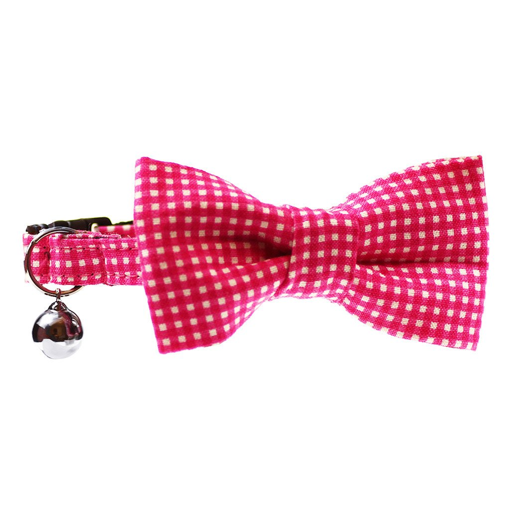 Cat Collar and Bow Tie : Pink Gingham - Dharf - 1