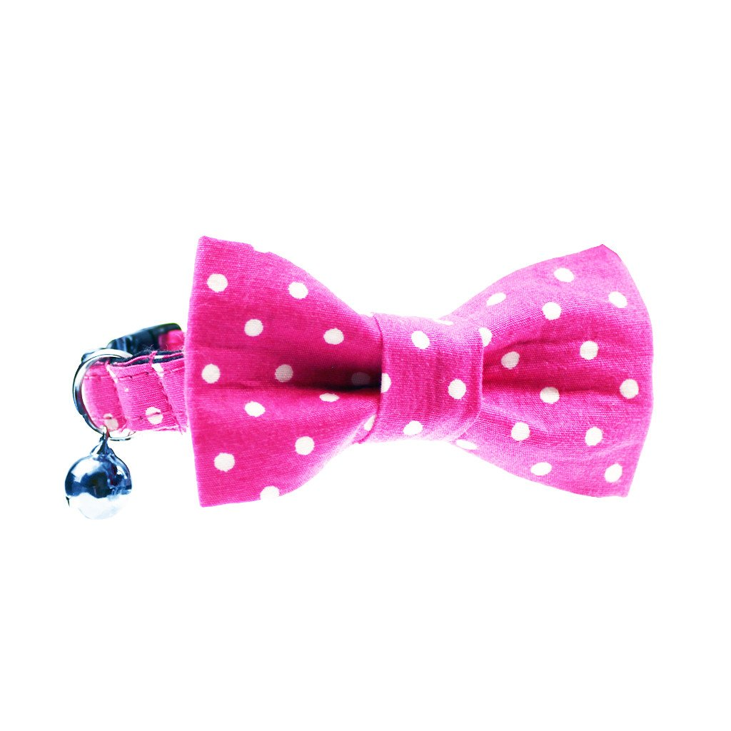 Cat Collar and Bow Tie :  Pink Polka Dot - Dharf