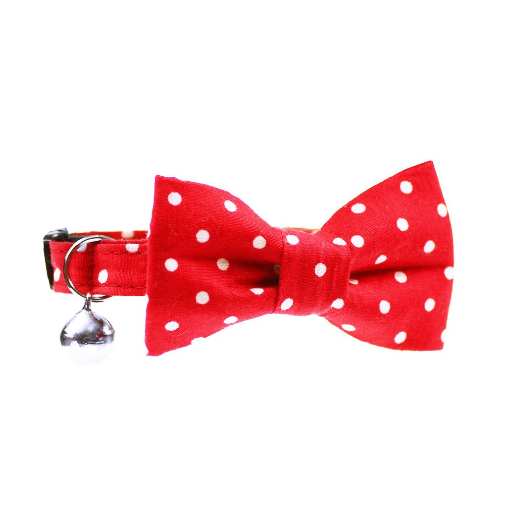 Cat Collar and Bow Tie : Red Polka Dot - Dharf - 1