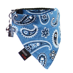 Cat Bandana and Collar :  Blue Paisley