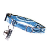 Dharf cat collar with adjustable length, bell, ID tag and breakaway buckle