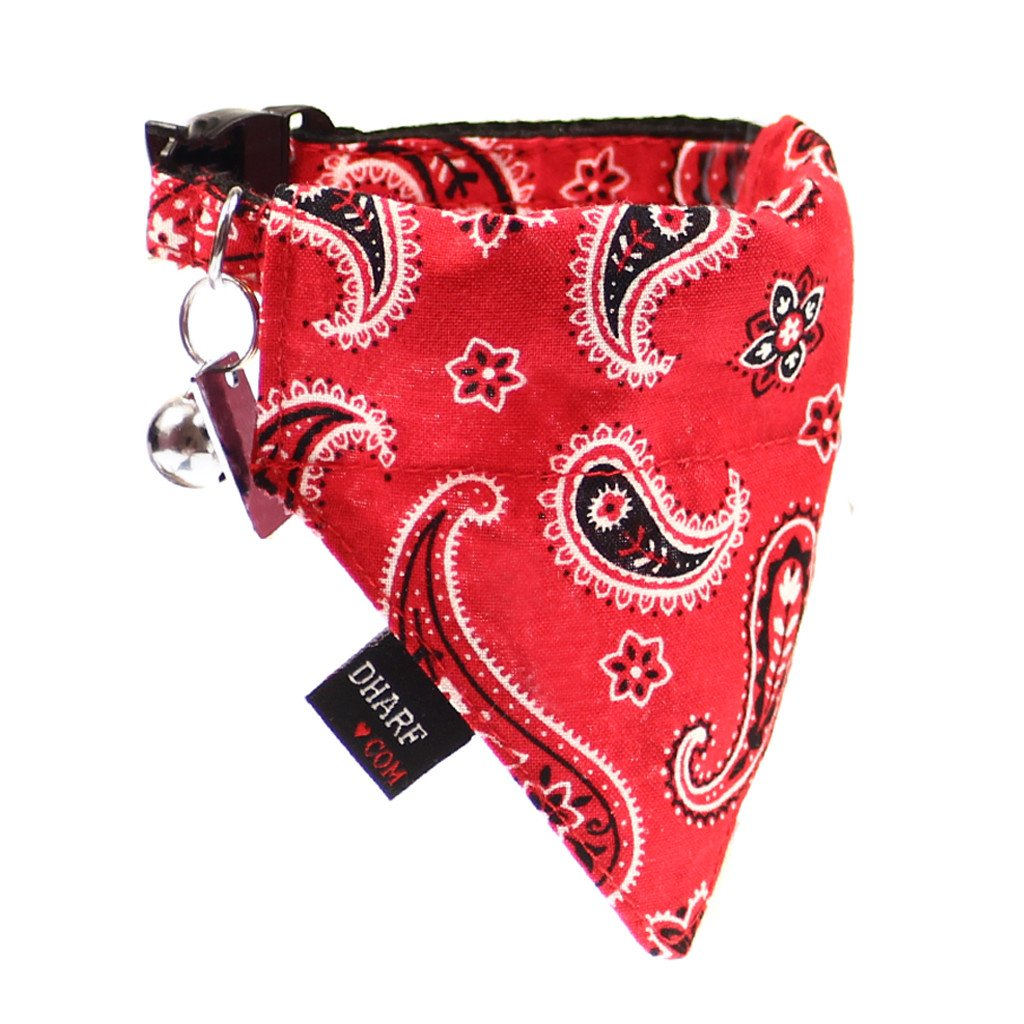 Dharf cat bandana and cat collar set in red paisley print
